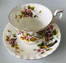 Royal Albert Bone China Coffee Teacup  Saucer Baltimore Oriole Bird & Flowers