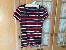 Tommy Hilfiger Ladies Short Sleeve T-Shirt SIZE S ( In UK 10/12) Striped BNWT