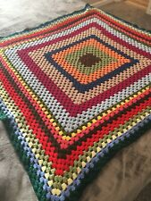 """Handmade Crocheted Afghan Blanket Lap Throw Multicolor 44"""" sq. Square in Square"""