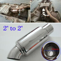 Universal Chrome Stainless Steel Car Exhaust Downpipe Tail Muffler Pipe 2inch