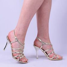 womens ladies occasion wedding sparkle glitter high mid heel stiletto shoe size
