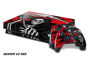 Xbox One X Console Skin with 2 Controller Decals Grimm REAPER red sticker wrap