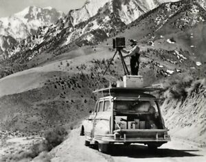 1940s Vintage ANSEL ADAMS Working Photographer Camera Car Roof By CEDRIC WRIGHT