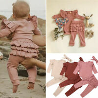 Infant Baby Girl Romper Toddler Bodysuit Ruffle Pants Leggings Outfits Clothes