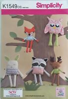 Simplicity K1549 Fox Owl Rabbit Raccoon Deer Soft Toy Boy Girl New Uncut Pattern