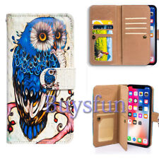 Bcov Blue Owl Bird Multifunction Wallet Leather Cover Case For iPhone X