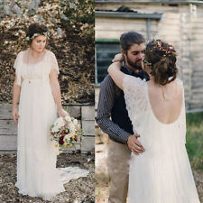 Custom Lace Cap Sleeves Scoop Back Wedding Dresses Bridal Gowns Plus Size