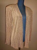 Made in Heaven Light Brown Slinky Travel Open Cardigan Jacket Size M