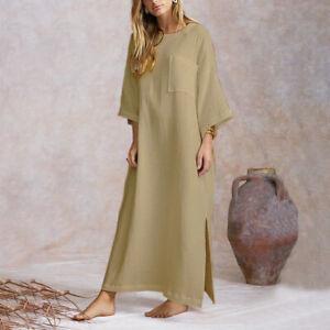 Womens Elegant Shirt Dress Retro Long Maxi Dress Oversized Loose Kaftan Sundress
