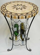 MosaicTile Wine Rack Table with Bottle / Stemware Rack Handmade Ceramic Tile Top