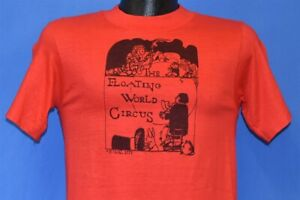 vtg 70s FLOATING WORLD CIRCUS MAGICIAN BUNNY WIZARD TORCH t-shirt EXTRA SMALL