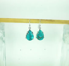 "925 SOLID SILVER TIBETAN TURQUOISE 29CT.VINTAGE STYLE EARRING =1.25""HANDMADE"