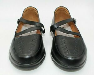 Dr Comfort Womens Shoes Size 9XW Betsy Black Mary Jane Leather Upper