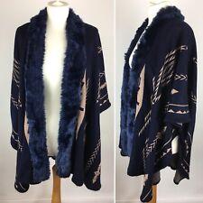 Navy Faux Fur Cloak Poncho Wrap Cover Up Geometric Tribal Shawl Cardigan