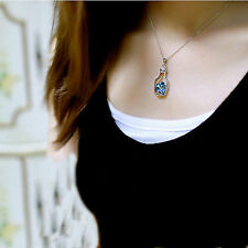 Blue Ocean Heart Shape Crystal Locket Glass Bottle Pendant Necklace Silver Chain