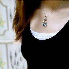 Blue Ocean Heart Shape Crystal Locket Glass Bottle Pendant Necklace Silver Chain