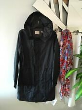 REGATTA Black Long Sleeve Hoodie Zip Front Long Jacket Coat Pockets Trench 10 PC