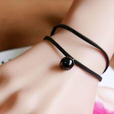 New Charm Black  Leather Wrap Wristband cuff Bracelet Thread Chain Pendant