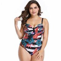 One-Piece Plus Size XL-5XL Beach Floral Print Women's Conservative Bathing Suit