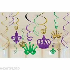 MARDI GRAS HANGING SWIRL DECORATIONS (12) ~ Birthday Party Supplies Room Foil