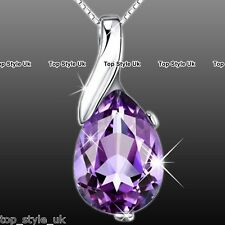 925 Sterling Silver Love Purple Amethyst Teardrop Pendant Necklace Jewelry Gift