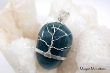 """WINTER OAK"" ON A THICK BLUE JADEITE JADE STONE SILVER WIRE WRAPPED TREE PENDANT"