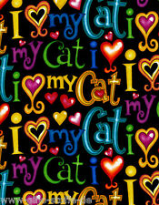 Love My Cat Patchworkstoffe Stoffe Katzen Patchwork Baumwolle Baumwollstoff Deko