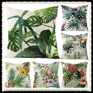 Garden Tropical  Cushion Cover Plant Green Leaves Linen Throw Pillow Case Flower