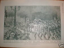 WW1 German army Goose steps into Brussels 1914 print