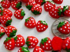"100! Flatback Resin Strawberry Embellishments - Cute Red Strawberries 10mm/0.4"""