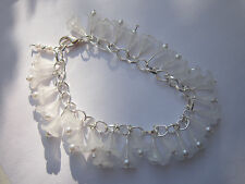 White Lucite Flower Charm Bracelet - Silver Plated - White Lily & Pearl