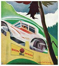 PUBBLICITA' 1930 SHELL BENZINA CARBURANTE AUTO STRADA MONTAGNA GUIDA NAFTA BASSI