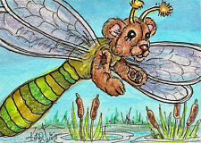 Dragon fly Bear ACEO EBSQ Loberg Mini Art Fantasy Insect cattail Reeds pond bug