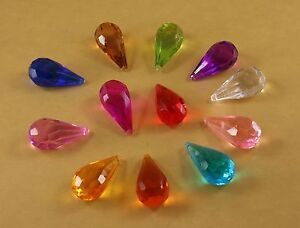 "Set of 14 Hanging Acrylic Faceted Chandelier Tear Drop Crystals - 2"" By 1"""