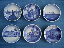 Vintage Denmark Royal Copenhagen Mini Collectables Blue White Plates Set of 6