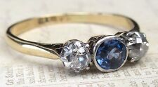 Antique 18ct Gold Platinum Set Old Cut Diamond & Sapphire .65ct Trilogy Ring