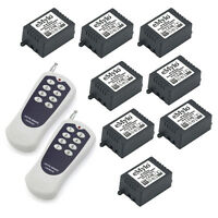 24V 8X1CH Wireless RF Remote Control Relay Switch for Home 2 Transmitter 433MHz