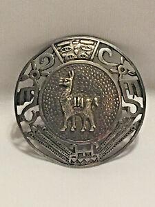 Vintage  Peru Sterling Silver Pin Brooch/Pendant
