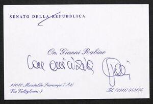 Auotografo senatore Giovanni Battista Rabino su biglietto da visita - anni 2000