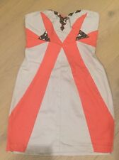 SOMETHING ABOUT ALICE BEIGE & CORAL STRAPLESS DRESS SZ. 8