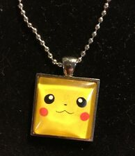 Nintendo Pokémon Pikachu Face Silver Glass Dome Pendant Necklace with Chain