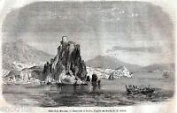 Scilla e i Vortici di Cariddi. Stretto di Messina. Etna.+ Passepartout. 1860