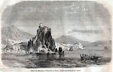 Stretto di Messina: Scilla,vortici di Cariddi. Etna.Reggio Calabria.Sicilia.1860