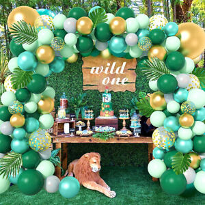167X Tropical Jungle Green Balloon Garland Arch Kit Leaves Birthday Party Decor