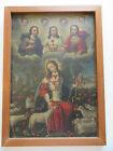 Colonial RETABLO HOLY TRINITY Jesus Lamb of God Oil Canvas 18th Century -Easter
