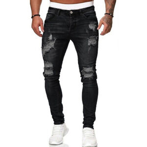 Men Ripped Skinny Jeans Denim Slim Fit Pants Distressed Casual Stretchy Trousers