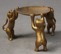 Superb Old Chinese Bronze Handwork 3 Cats Plate Statue  Candlestick RN