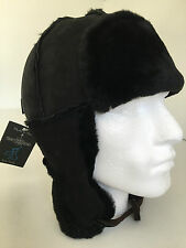 "Paul Smith Trapper Hat 100% SHEEPSKIN ""MAINLINE"" SIZE M Black with ear flaps"