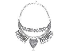 Silver Tone Linked Chain Necklace Lady Indian Inspired Intricate Design