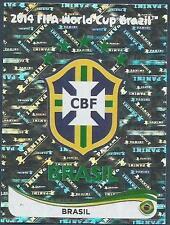 PANINI WORLD CUP 2014- #032-BRASIL-BRAZIL TEAM BADGE-SILVER FOIL